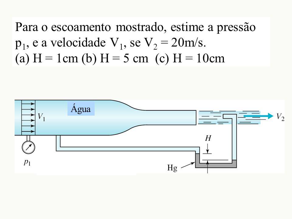 Para o escoamento mostrado, estime a pressão p 1, e a velocidade V 1, se V 2 = 20m/s. (a) H = 1cm (b) H = 5 cm (c) H = 10cm Água