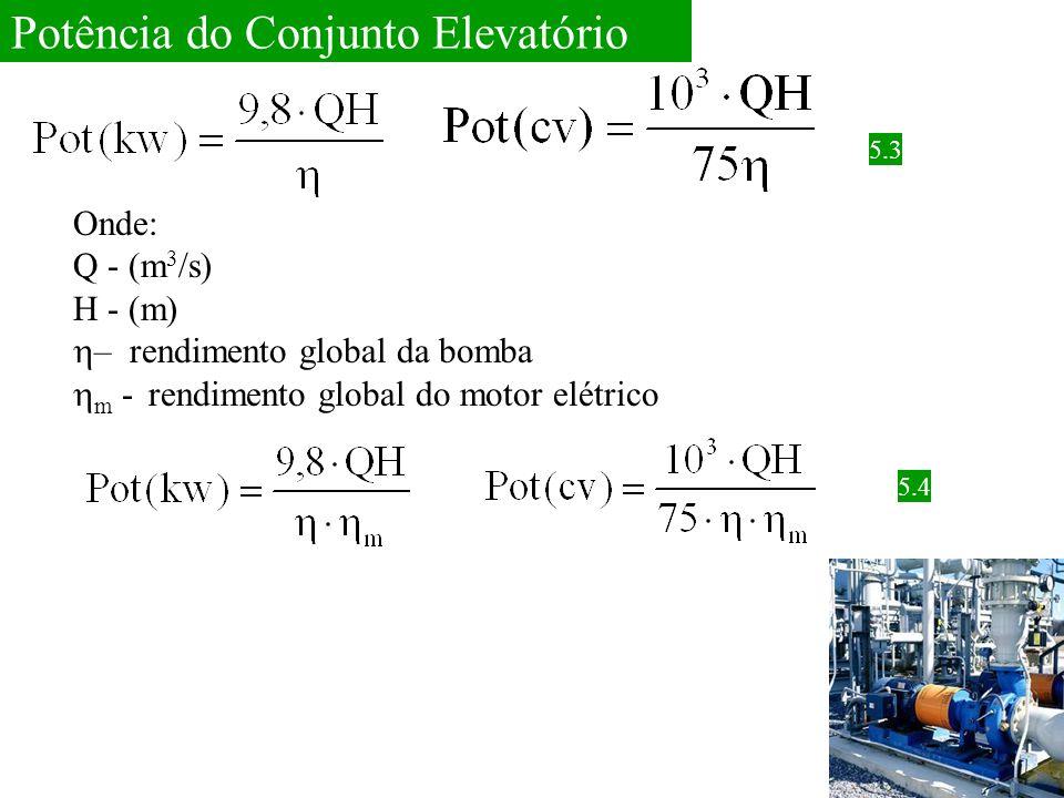 Potência do Conjunto Elevatório Onde: Q - (m 3 /s) H - (m)  – rendimento global da bomba  m - rendimento global do motor elétrico 5.3 5.4