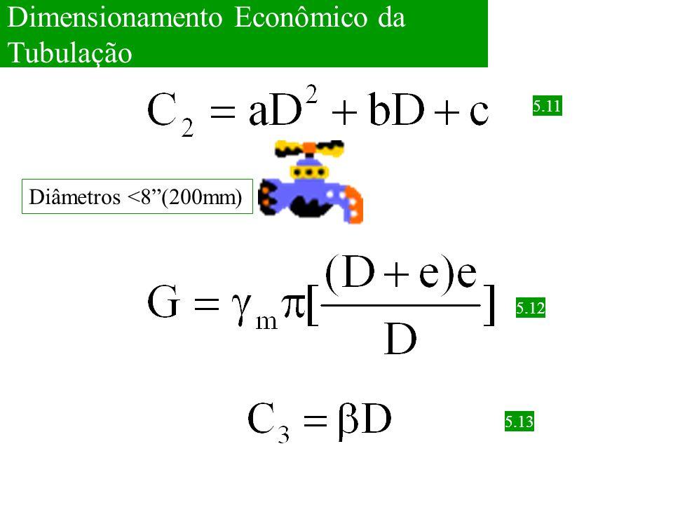 """5.11 5.12 Dimensionamento Econômico da Tubulação Diâmetros <8""""(200mm) 5.13"""