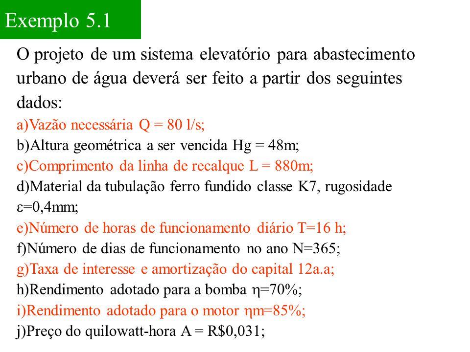 Exemplo 5.1 O projeto de um sistema elevatório para abastecimento urbano de água deverá ser feito a partir dos seguintes dados: a)Vazão necessária Q =