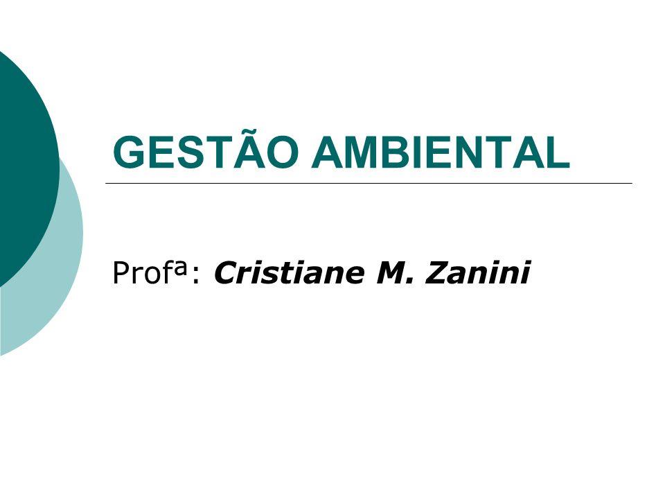 GESTÃO AMBIENTAL Profª: Cristiane M. Zanini