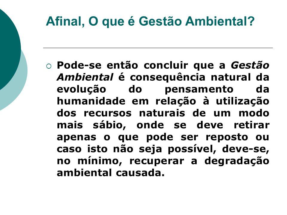 Afinal, O que é Gestão Ambiental?  Pode-se então concluir que a Gestão Ambiental é consequência natural da evolução do pensamento da humanidade em re