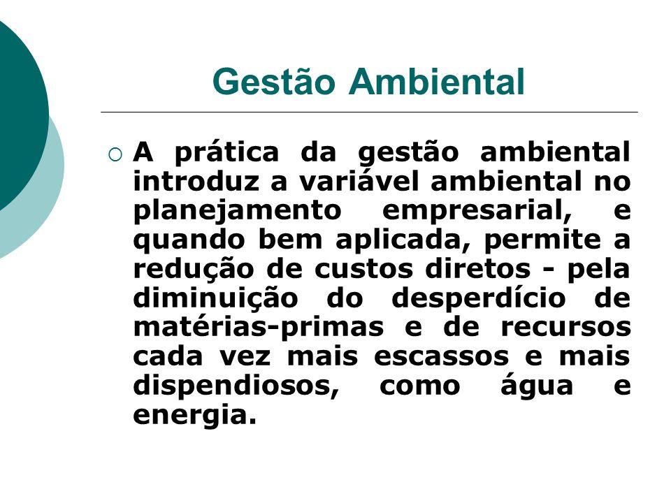 Gestão Ambiental  A prática da gestão ambiental introduz a variável ambiental no planejamento empresarial, e quando bem aplicada, permite a redução d