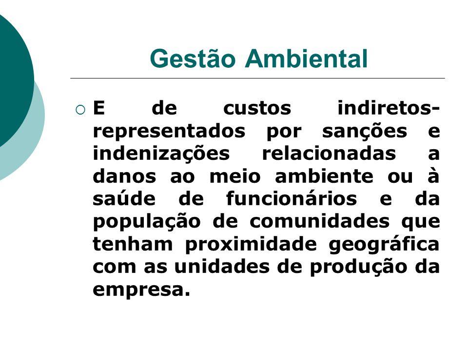 Gestão Ambiental  E de custos indiretos- representados por sanções e indenizações relacionadas a danos ao meio ambiente ou à saúde de funcionários e