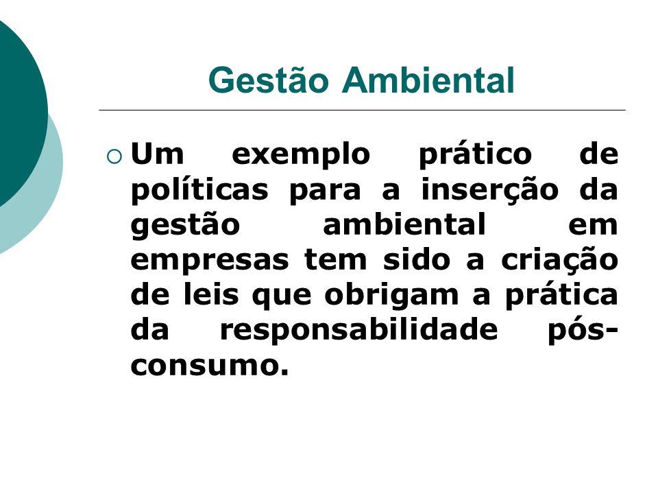 Gestão Ambiental  Um exemplo prático de políticas para a inserção da gestão ambiental em empresas tem sido a criação de leis que obrigam a prática da
