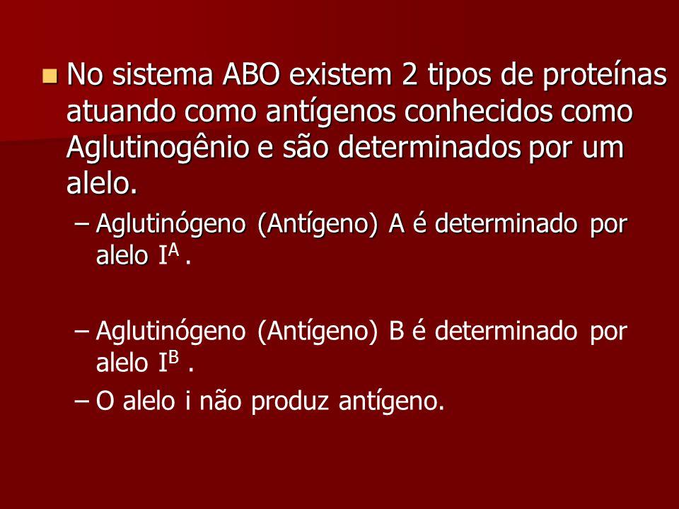 No sistema ABO existem 2 tipos de proteínas atuando como antígenos conhecidos como Aglutinogênio e são determinados por um alelo. No sistema ABO exist