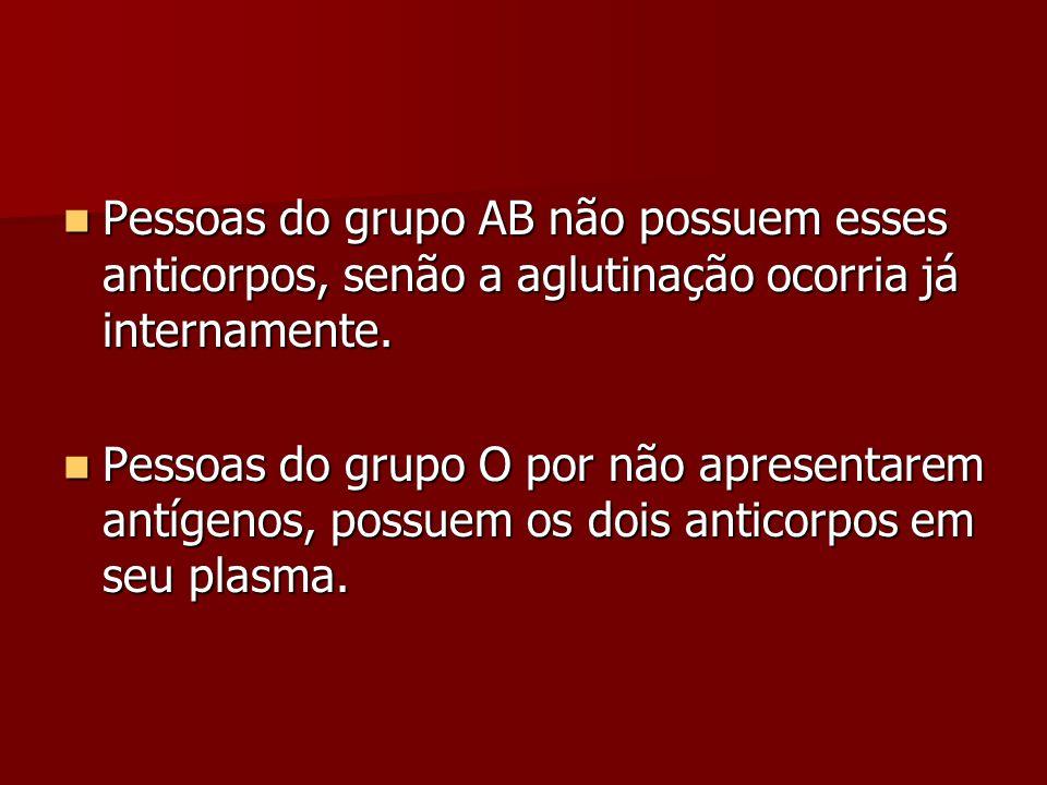 Pessoas do grupo AB não possuem esses anticorpos, senão a aglutinação ocorria já internamente. Pessoas do grupo AB não possuem esses anticorpos, senão