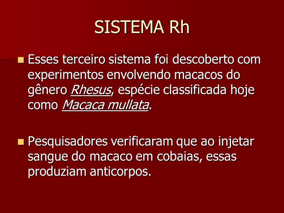 SISTEMA Rh Esses terceiro sistema foi descoberto com experimentos envolvendo macacos do gênero Rhesus, espécie classificada hoje como Macaca mullata.