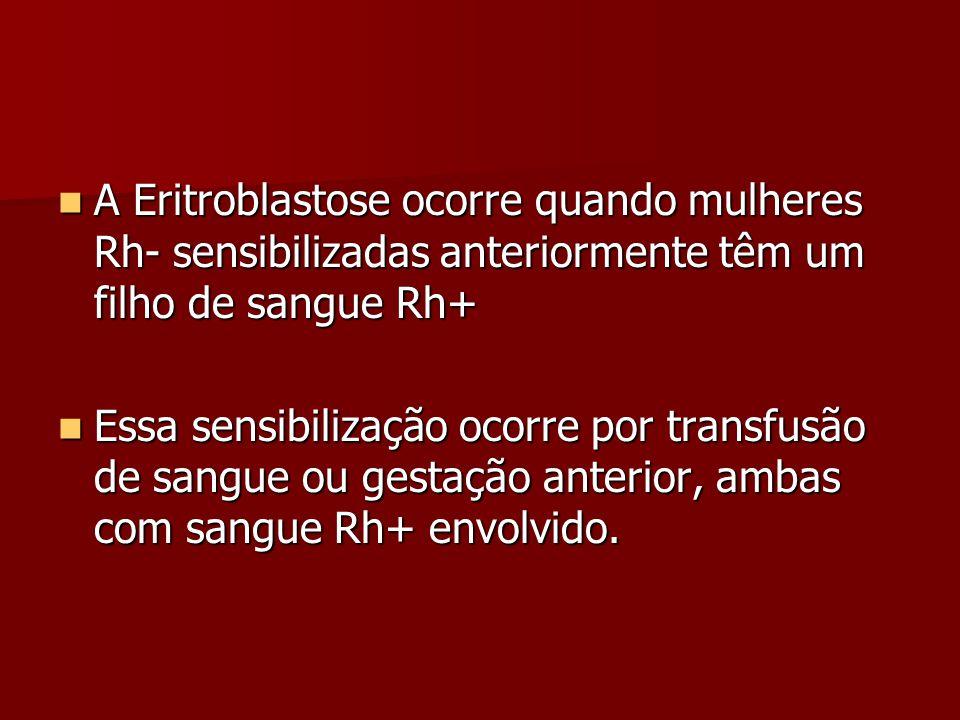 A Eritroblastose ocorre quando mulheres Rh- sensibilizadas anteriormente têm um filho de sangue Rh+ A Eritroblastose ocorre quando mulheres Rh- sensib