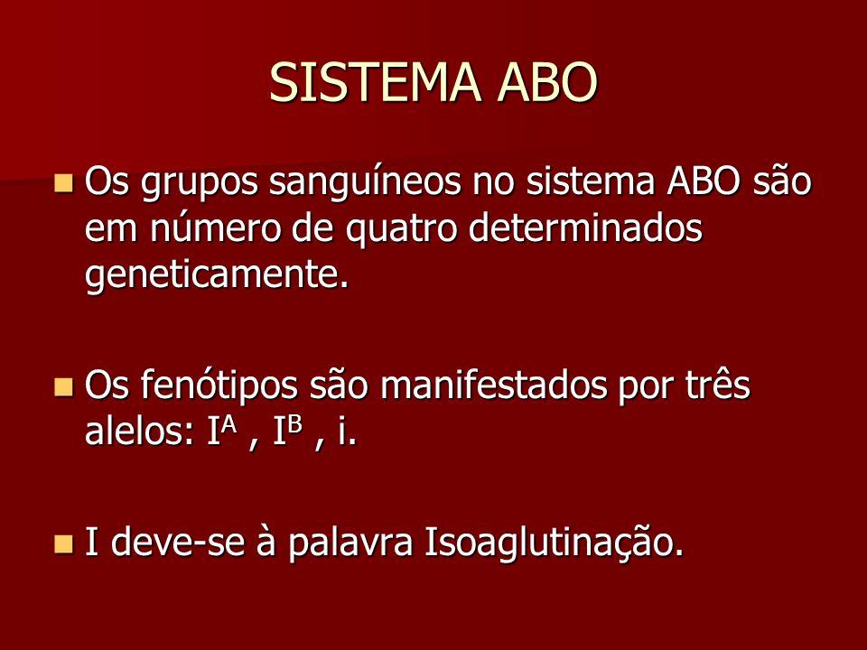 SISTEMA ABO Os grupos sanguíneos no sistema ABO são em número de quatro determinados geneticamente. Os grupos sanguíneos no sistema ABO são em número