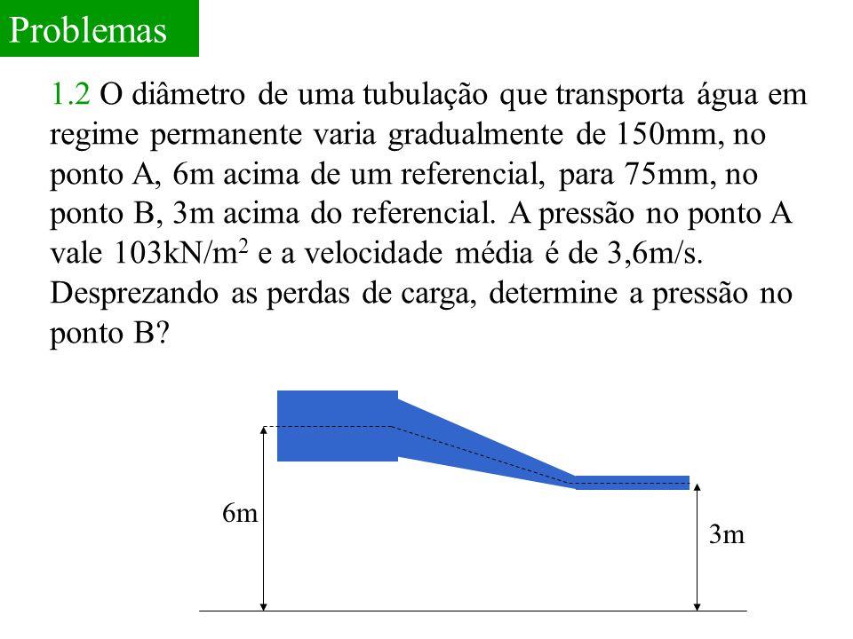 Problemas 1.2 O diâmetro de uma tubulação que transporta água em regime permanente varia gradualmente de 150mm, no ponto A, 6m acima de um referencial