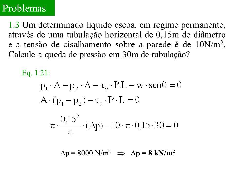 Problemas 1.3 Um determinado líquido escoa, em regime permanente, através de uma tubulação horizontal de 0,15m de diâmetro e a tensão de cisalhamento