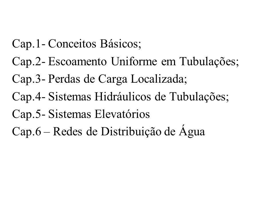 Cap.1- Conceitos Básicos; Cap.2- Escoamento Uniforme em Tubulações; Cap.3- Perdas de Carga Localizada; Cap.4- Sistemas Hidráulicos de Tubulações; Cap.