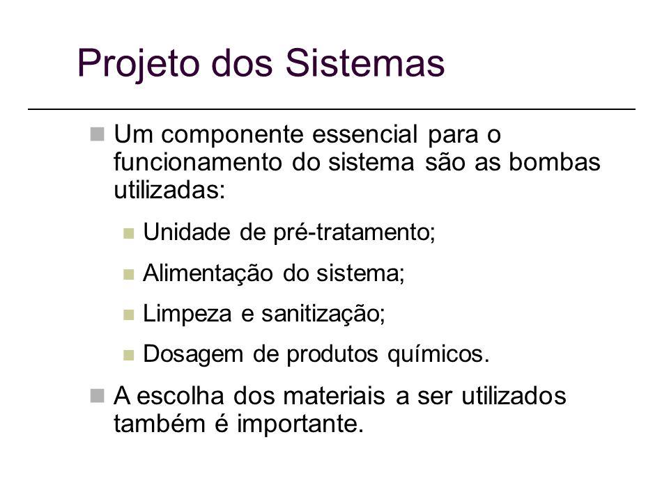 Projeto dos Sistemas Um componente essencial para o funcionamento do sistema são as bombas utilizadas: Unidade de pré-tratamento; Alimentação do sistema; Limpeza e sanitização; Dosagem de produtos químicos.