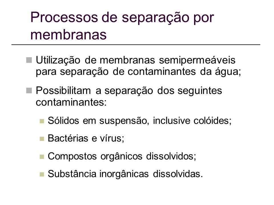 Processos de separação por membranas Utilização de membranas semipermeáveis para separação de contaminantes da água; Possibilitam a separação dos seguintes contaminantes: Sólidos em suspensão, inclusive colóides; Bactérias e vírus; Compostos orgânicos dissolvidos; Substância inorgânicas dissolvidas.