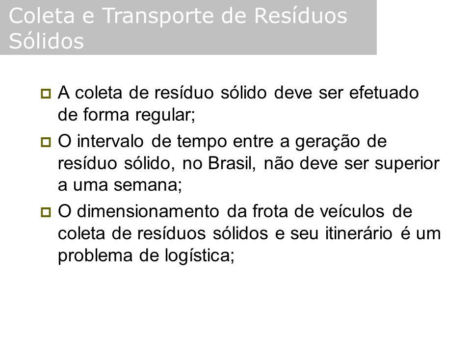  A coleta de resíduo sólido deve ser efetuado de forma regular;  O intervalo de tempo entre a geração de resíduo sólido, no Brasil, não deve ser sup