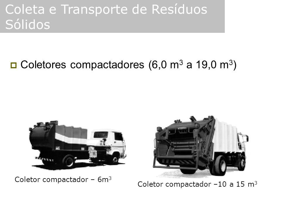  Coletores compactadores (6,0 m 3 a 19,0 m 3 ) Coleta e Transporte de Resíduos Sólidos Coletor compactador – 6m 3 Coletor compactador –10 a 15 m 3