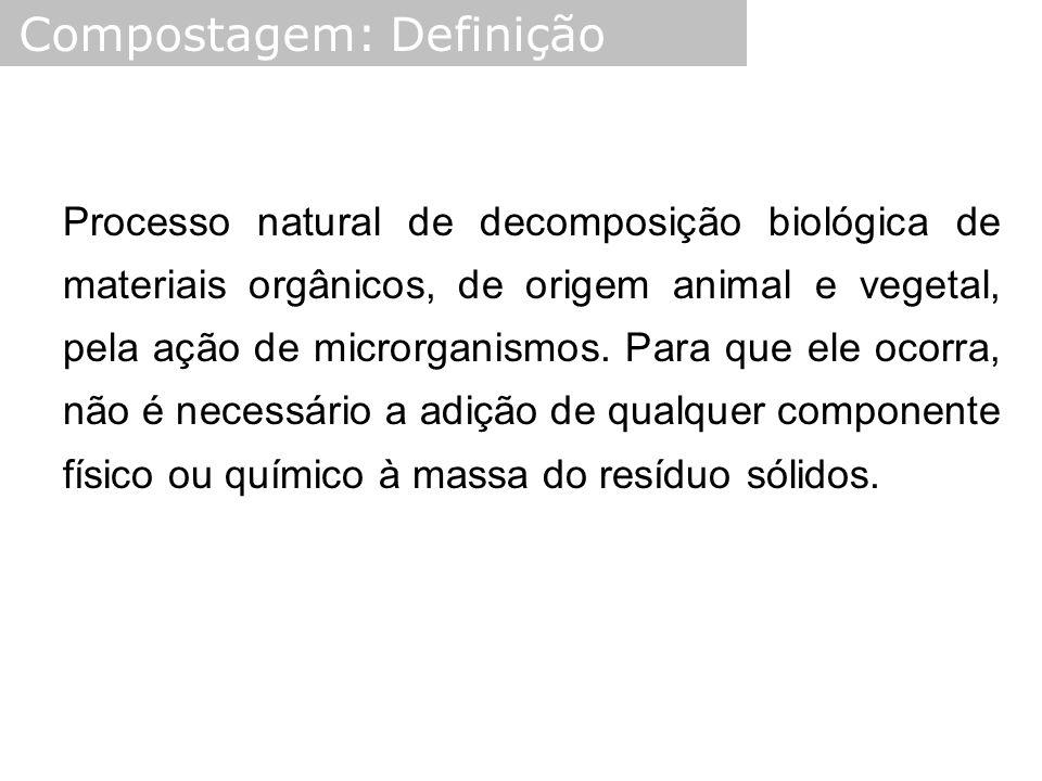 Processo natural de decomposição biológica de materiais orgânicos, de origem animal e vegetal, pela ação de microrganismos. Para que ele ocorra, não é