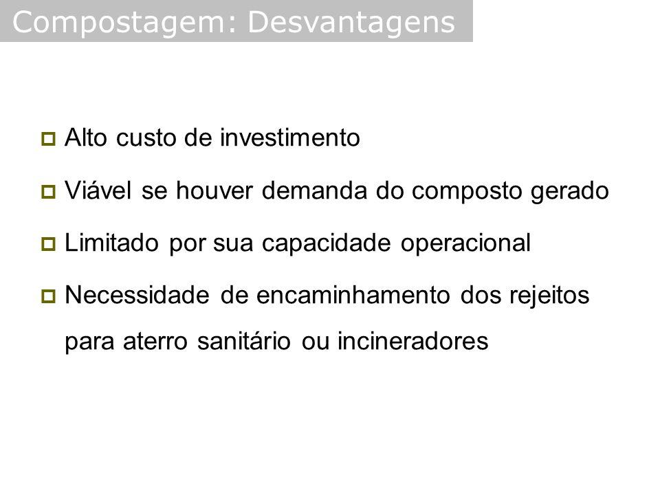  Alto custo de investimento  Viável se houver demanda do composto gerado  Limitado por sua capacidade operacional  Necessidade de encaminhamento dos rejeitos para aterro sanitário ou incineradores Compostagem: Desvantagens