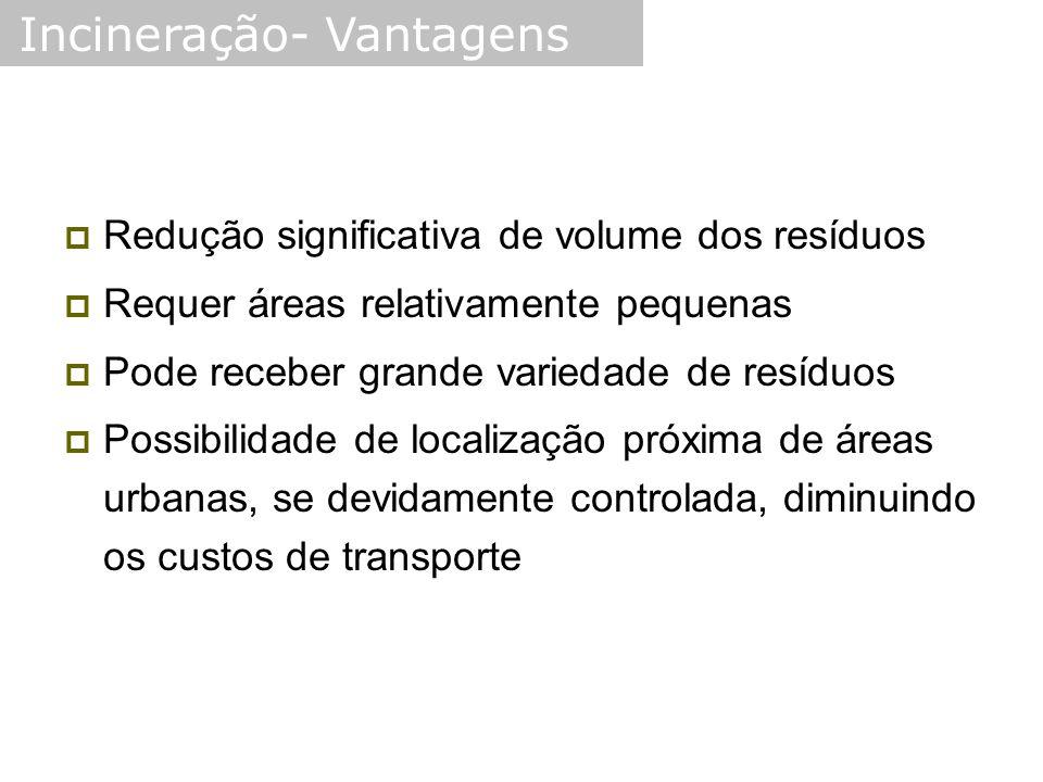  Redução significativa de volume dos resíduos  Requer áreas relativamente pequenas  Pode receber grande variedade de resíduos  Possibilidade de localização próxima de áreas urbanas, se devidamente controlada, diminuindo os custos de transporte Incineração- Vantagens