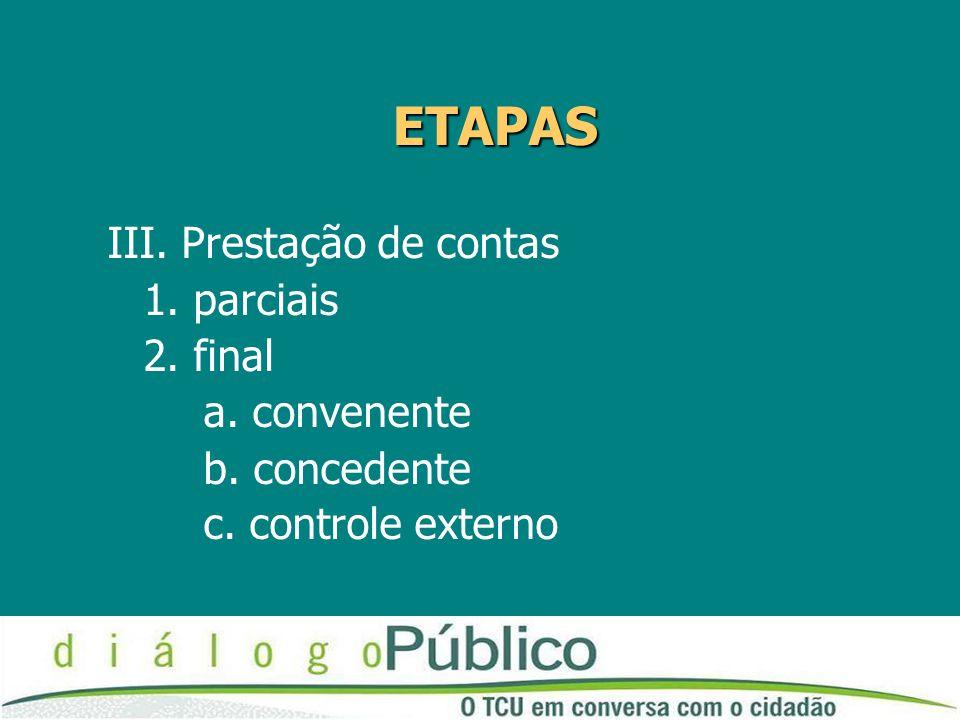 ETAPAS III. Prestação de contas 1. parciais 2. final a. convenente b. concedente c. controle externo