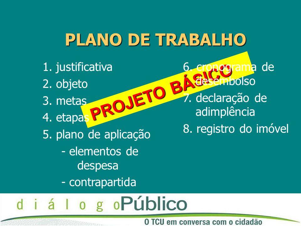 PROJETO BÁSICO PROJETO BÁSICO PLANO DE TRABALHO 1. justificativa 2. objeto 3. metas 4. etapas 5. plano de aplicação - elementos de despesa - contrapar