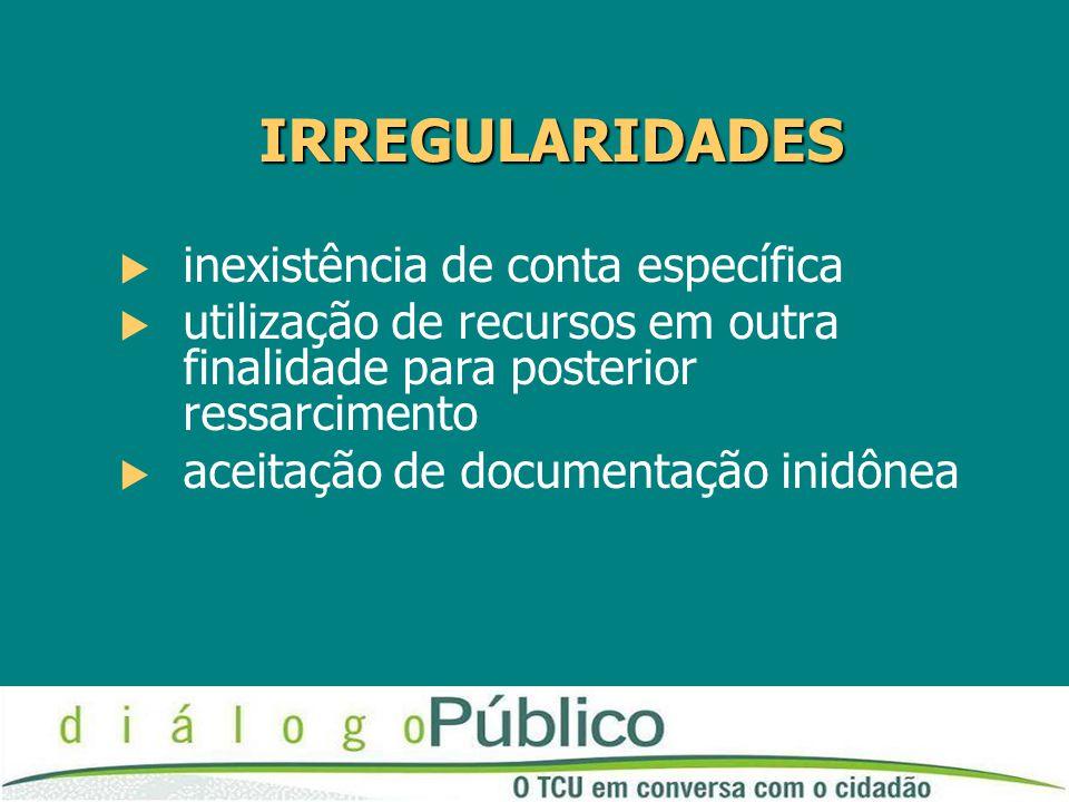 IRREGULARIDADES  inexistência de conta específica  utilização de recursos em outra finalidade para posterior ressarcimento  aceitação de documentaç
