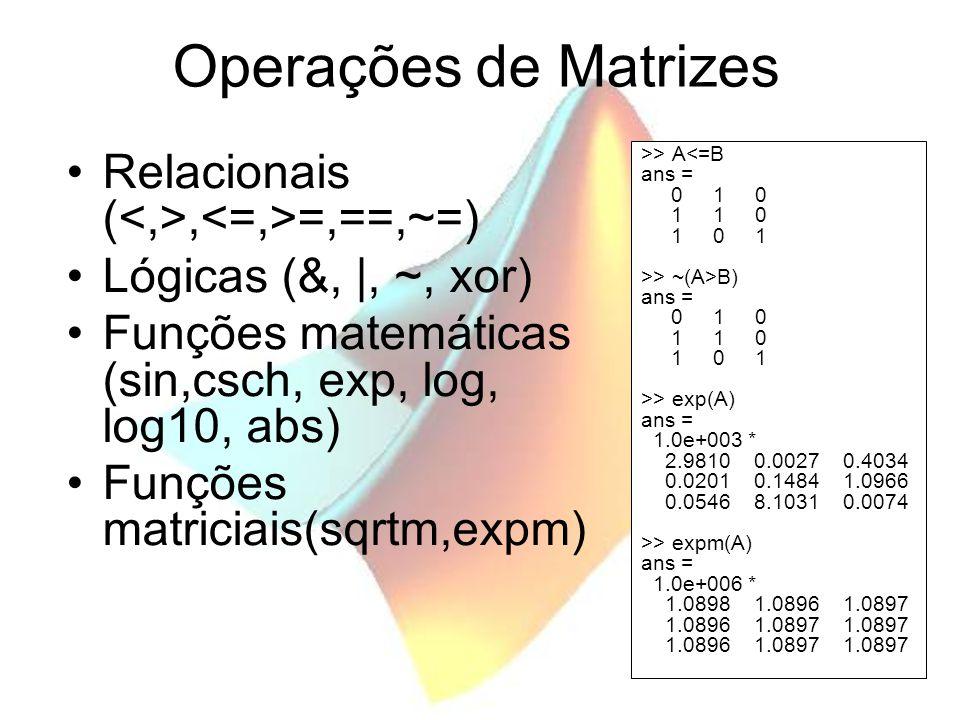 Operações de Matrizes Relacionais (, =,==,~=) Lógicas (&, |, ~, xor) Funções matemáticas (sin,csch, exp, log, log10, abs) Funções matriciais(sqrtm,exp