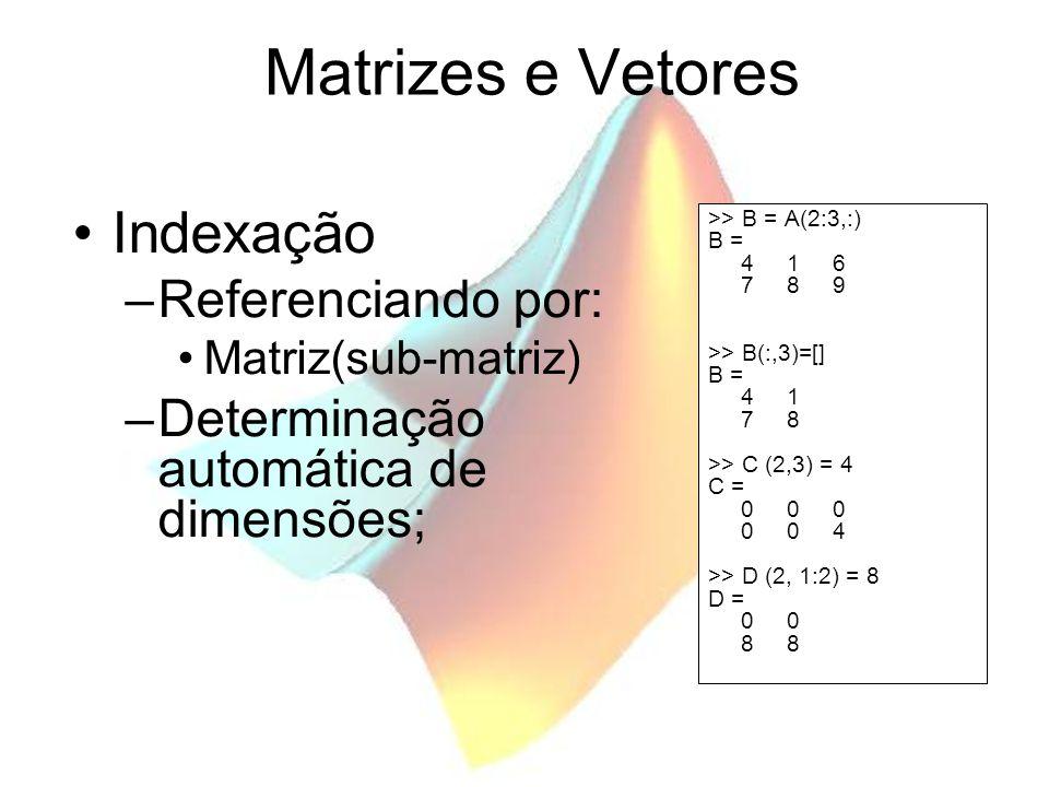Matrizes e Vetores Manipulação de Matrizes –Indexação –Reforma (vetor matriz) >> A = [1 2 3; 4 5 6; 7 8 9]; >> v = [1 3]; >> B = A(v,:) B = 1 2 3 7 8 9 >> x = B(:) x = 1 7 2 8 3 9 >> C = reshape(x,3,2) C = 1 8 7 3 2 9