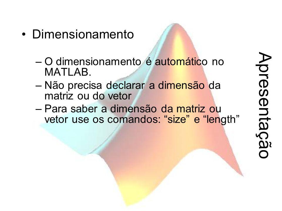 Apresentação Dimensionamento –O dimensionamento é automático no MATLAB. –Não precisa declarar a dimensão da matriz ou do vetor –Para saber a dimensão