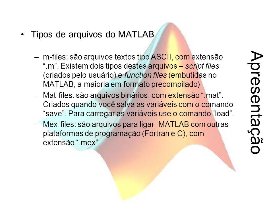 """Apresentação Tipos de arquivos do MATLAB –m-files: são arquivos textos tipo ASCII, com extensão """".m"""". Existem dois tipos destes arquivos – script file"""
