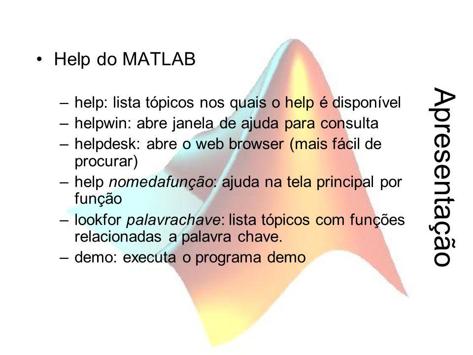 Apresentação Help do MATLAB –help: lista tópicos nos quais o help é disponível –helpwin: abre janela de ajuda para consulta –helpdesk: abre o web brow