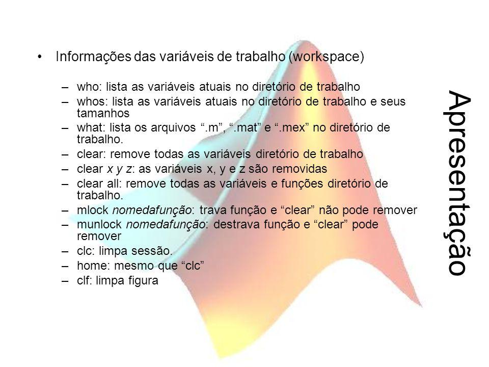 Apresentação Informações das variáveis de trabalho (workspace) –who: lista as variáveis atuais no diretório de trabalho –whos: lista as variáveis atua