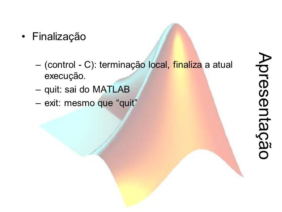 """Apresentação Finalização –(control - C): terminação local, finaliza a atual execução. –quit: sai do MATLAB –exit: mesmo que """"quit"""""""