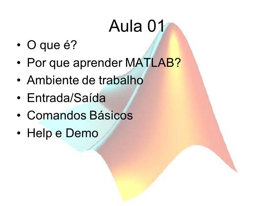 Aula 01 O que é? Por que aprender MATLAB? Ambiente de trabalho Entrada/Saída Comandos Básicos Help e Demo