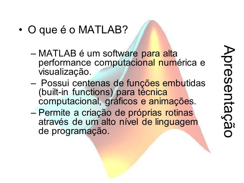 Apresentação O que é o MATLAB? –MATLAB é um software para alta performance computacional numérica e visualização. – Possui centenas de funções embutid