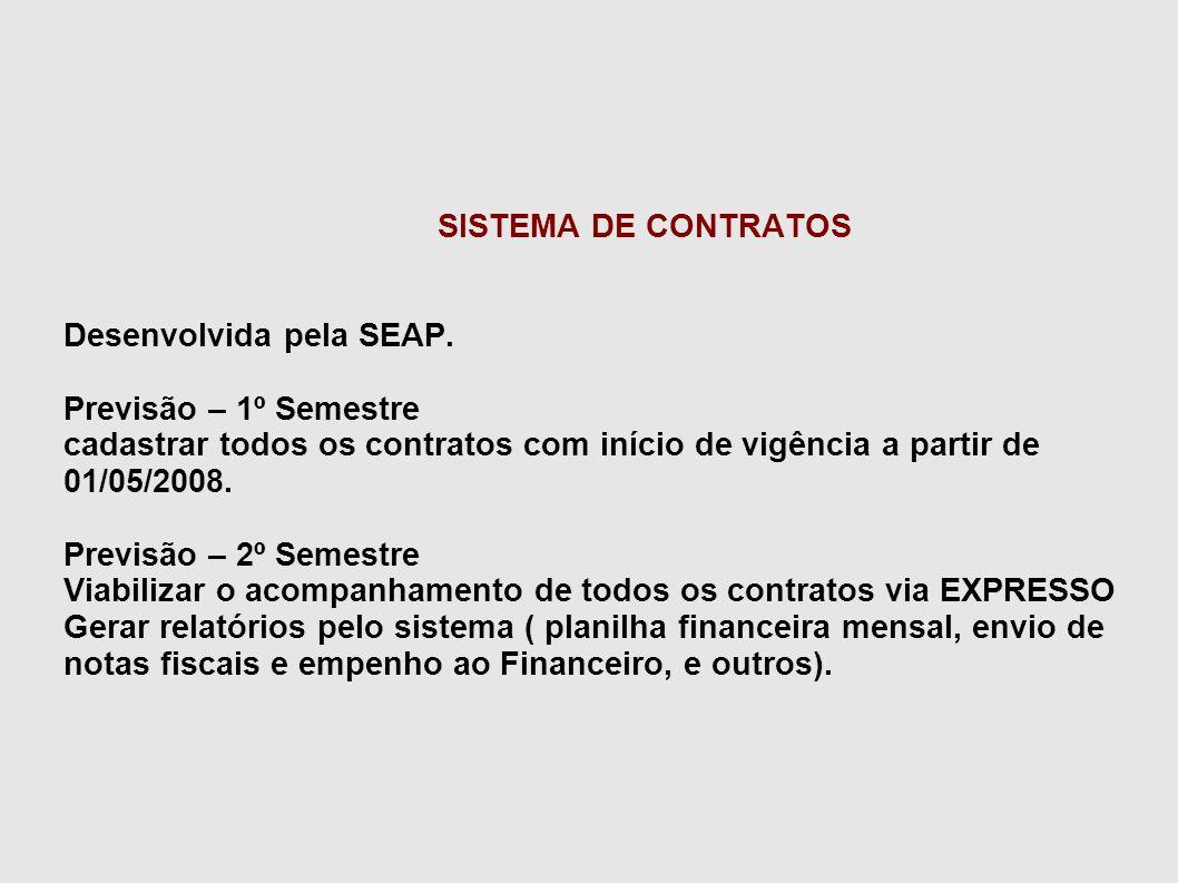 SISTEMA DE CONTRATOS Desenvolvida pela SEAP. Previsão – 1º Semestre cadastrar todos os contratos com início de vigência a partir de 01/05/2008. Previs
