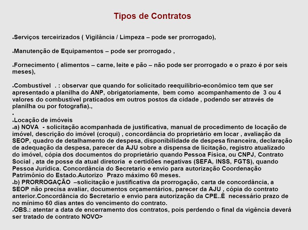Tipos de Contratos ● Serviços terceirizados ( Vigilância / Limpeza – pode ser prorrogado), ● Manutenção de Equipamentos – pode ser prorrogado, ● Forne