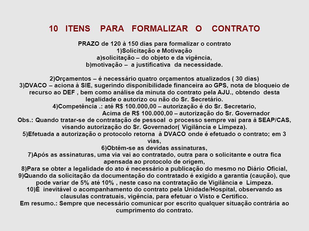 10 ITENS PARA FORMALIZAR O CONTRATO PRAZO de 120 à 150 dias para formalizar o contrato 1)Solicitação e Motivação a)solicitação – do objeto e da vigênc