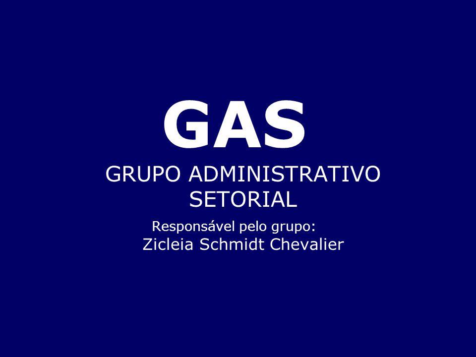 GAS GRUPO ADMINISTRATIVO SETORIAL Responsável pelo grupo: Zicleia Schmidt Chevalier