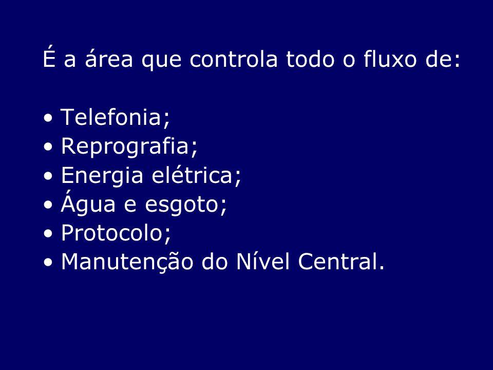 É a área que controla todo o fluxo de: Telefonia; Reprografia; Energia elétrica; Água e esgoto; Protocolo; Manutenção do Nível Central.