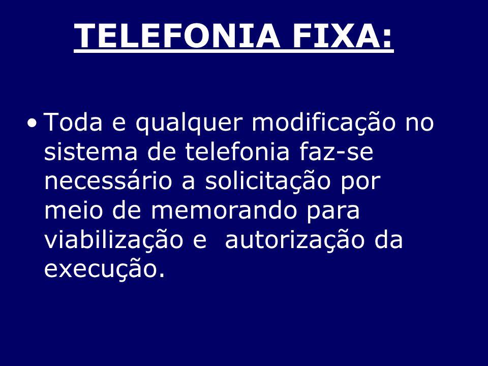 TELEFONIA FIXA: Toda e qualquer modificação no sistema de telefonia faz-se necessário a solicitação por meio de memorando para viabilização e autoriza