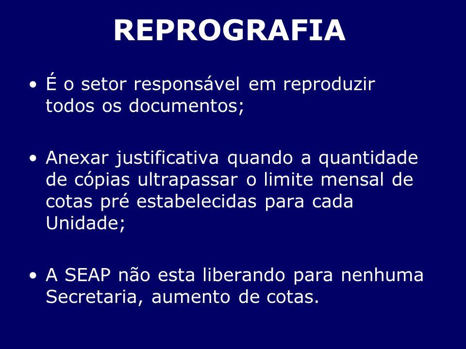 REPROGRAFIA É o setor responsável em reproduzir todos os documentos; Anexar justificativa quando a quantidade de cópias ultrapassar o limite mensal de
