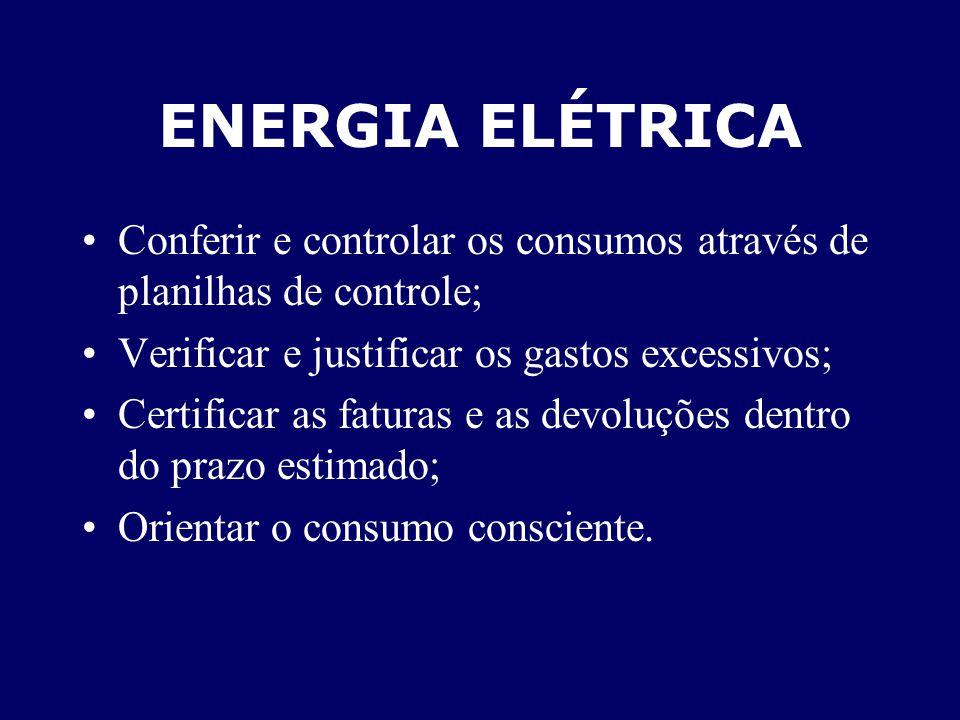 ENERGIA ELÉTRICA Conferir e controlar os consumos através de planilhas de controle; Verificar e justificar os gastos excessivos; Certificar as faturas