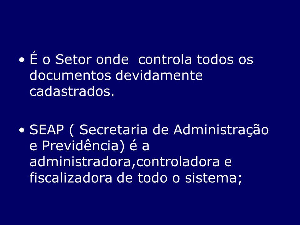 É o Setor onde controla todos os documentos devidamente cadastrados. SEAP ( Secretaria de Administração e Previdência) é a administradora,controladora