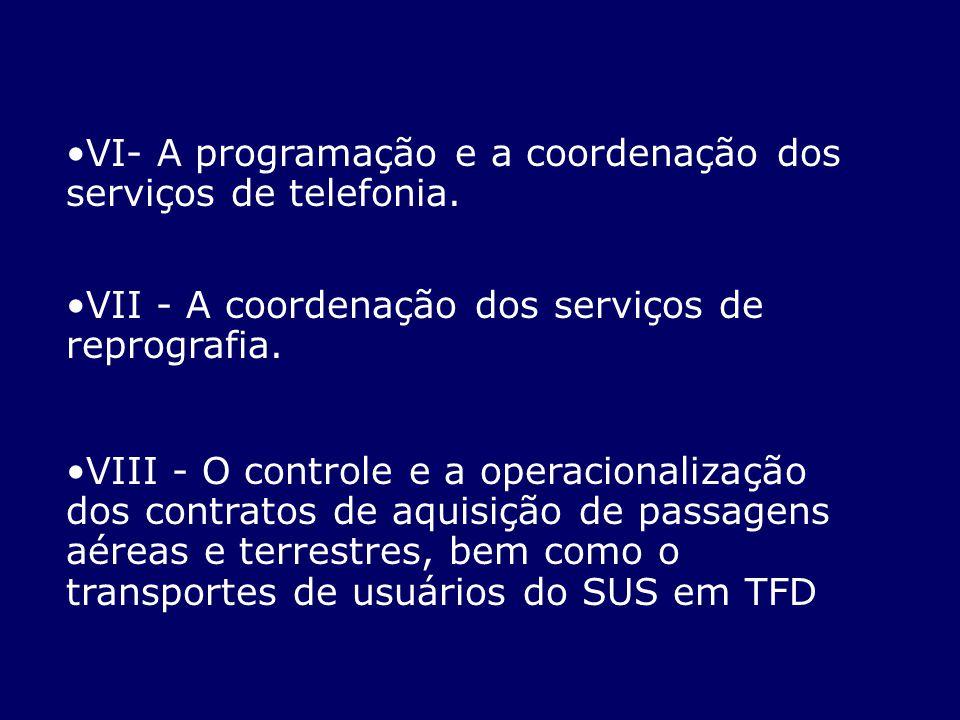 VI- A programação e a coordenação dos serviços de telefonia. VII - A coordenação dos serviços de reprografia. VIII - O controle e a operacionalização