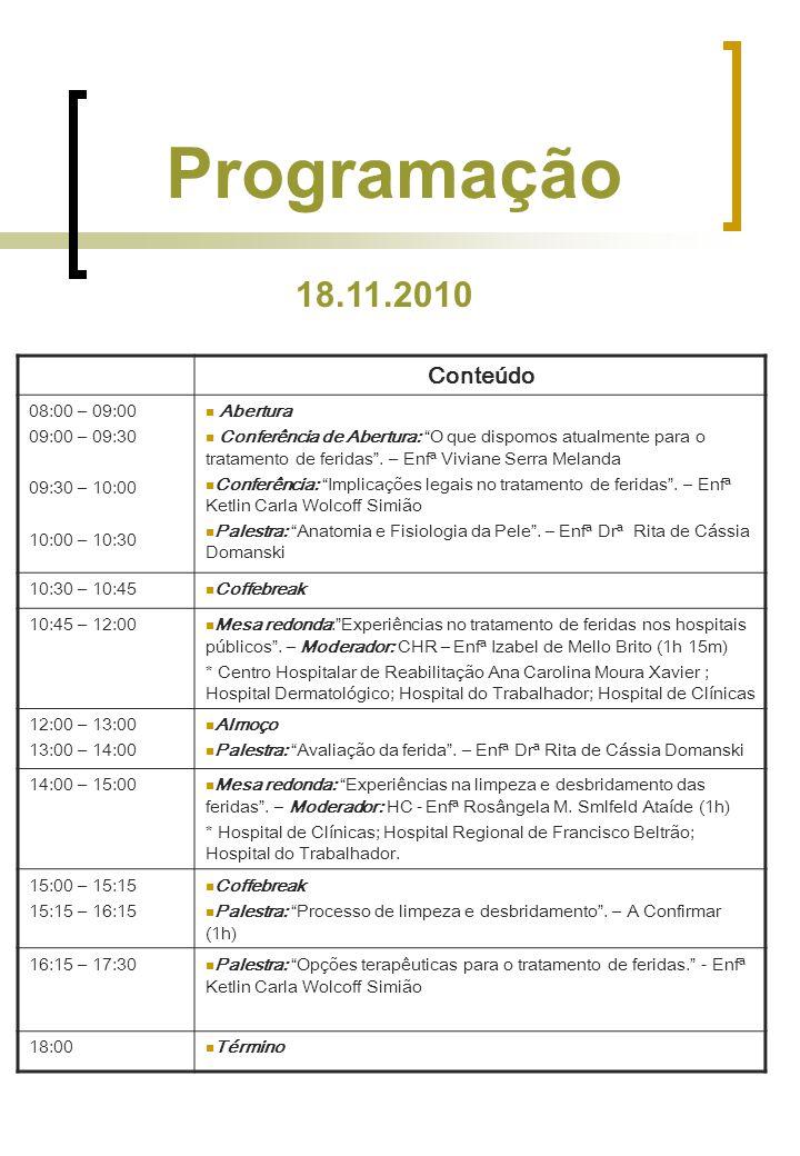 Programação Conteúdo 08:00 – 09:00 09:00 – 09:30 09:30 – 10:00 10:00 – 10:30 Abertura Conferência de Abertura: O que dispomos atualmente para o tratamento de feridas .