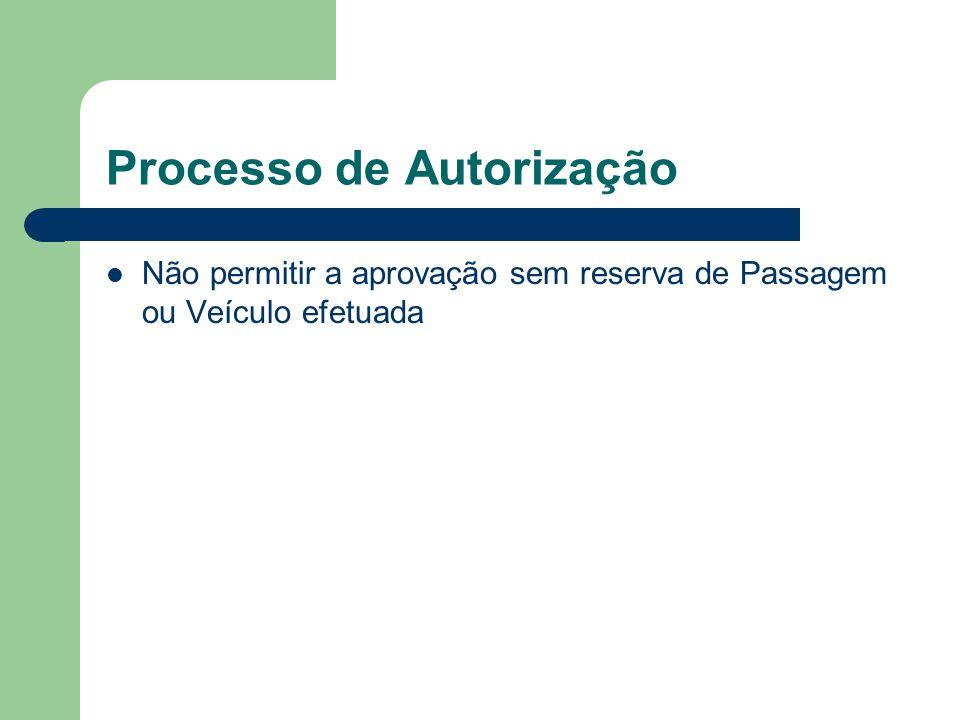 Processo de Autorização Não permitir a aprovação sem reserva de Passagem ou Veículo efetuada