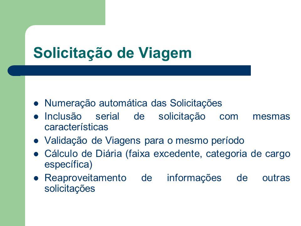 Solicitação de Viagem Numeração automática das Solicitações Inclusão serial de solicitação com mesmas características Validação de Viagens para o mesm