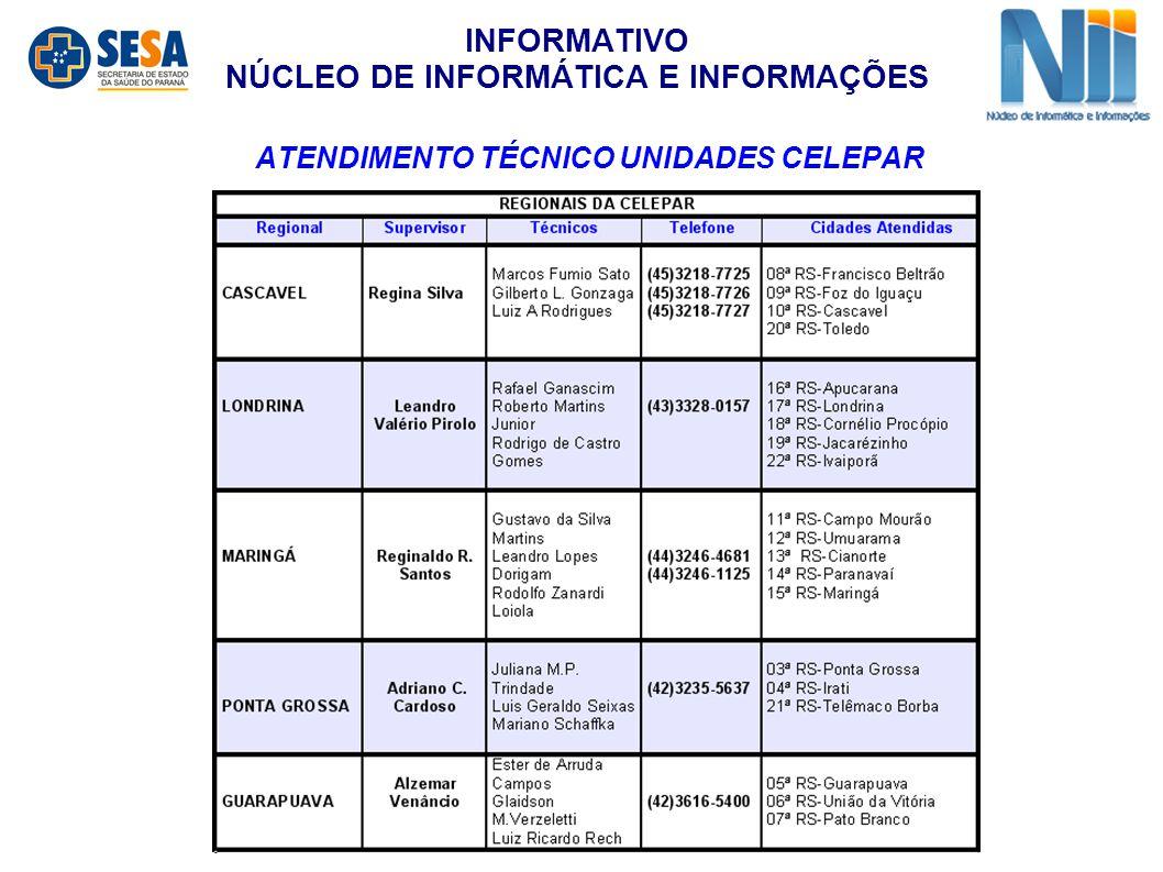 ATENDIMENTO TÉCNICO UNIDADES CELEPAR INFORMATIVO NÚCLEO DE INFORMÁTICA E INFORMAÇÕES